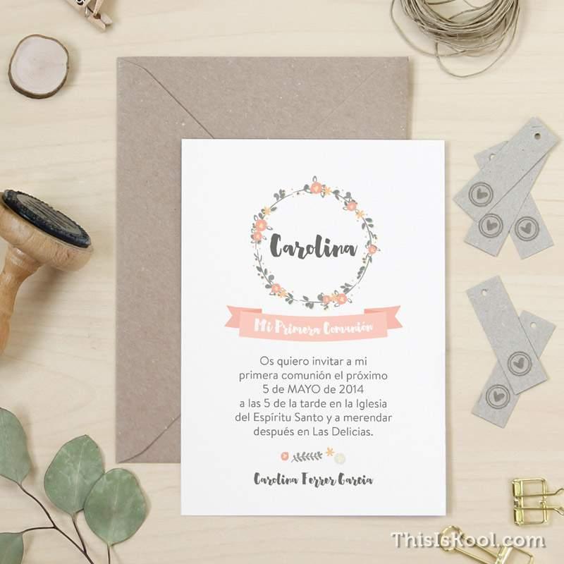Invitación de comunión con florituras